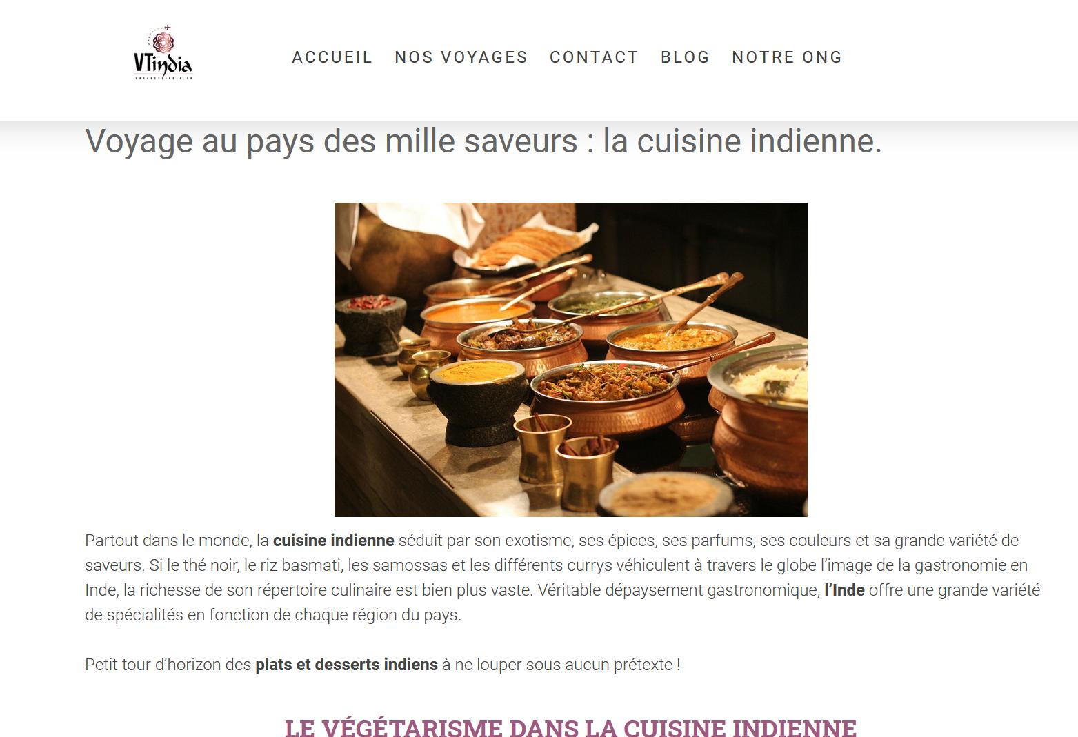 article de blog sur la cuisine indienne